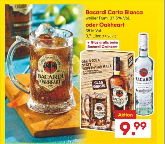 [Netto ohne Hund] Bacardi Oakheart mit Glas oder Bacardi Carta Blanca (jeweils 0,7 L)