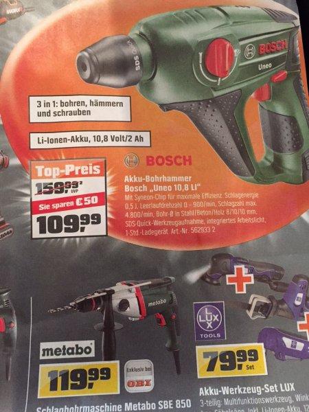 Bosch Akku-Bohrhammer Uneo 10,8li inkl Akku 109,99 (lokal: Obi Stuttgart West)