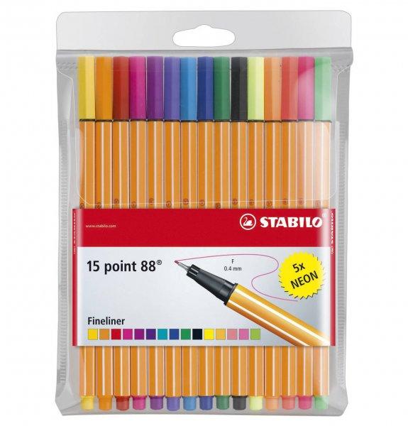[Galeria Kaufhof online] STABILO point 88 Fineliner (0,4 mm), 15er Etui inkl. 5 Neonfarben für 5,09€ + 5% Qipu
