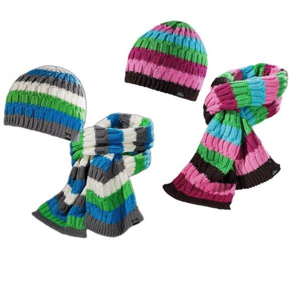 (Outlet-Trends.de)Black Canyon Strickmütze und Schal Im Set 2 Farben Blau o. Pink gestreift für 9,95€