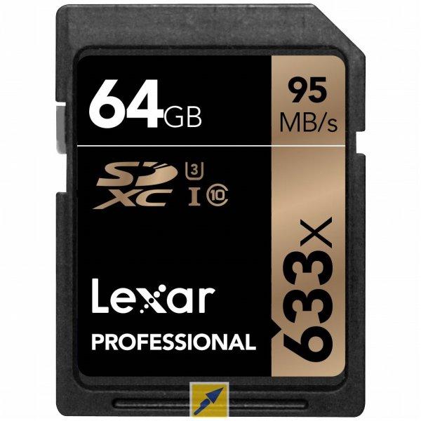 [Technikdirekt] Speicherkarte Lexar SDXC Card 64GB 633x Professional Class 10 / U3 95MB/s versandkostenfrei