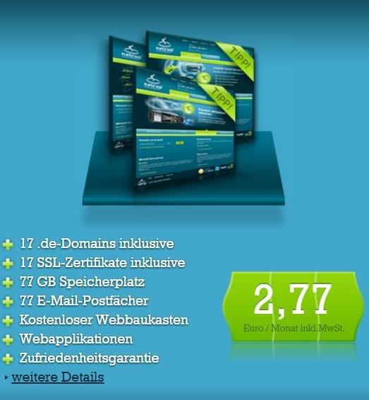 17 .de Domains mit SSL, 77 GB Speicher und unlimited Traffic bei Netcup
