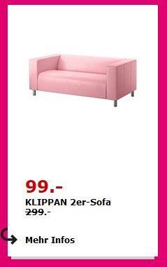 Klippan 2-er Sofa hellrosa für 99€ anstatt 299€ + Bezüge in anderen Farben ab 30 € bei Ikea Freiburg
