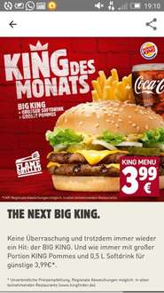 Für alle Menü Fans @ Burger King [BigKing Kombination]