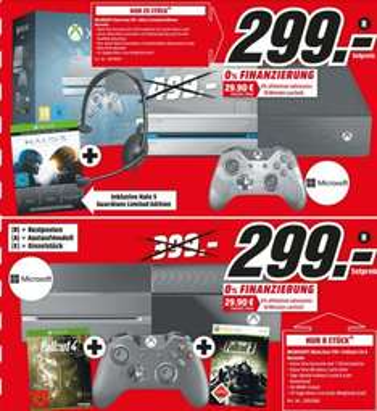[Lokal Köln City am Dom] Limitierte Angebote...Microsoft Xbox One 1TB + Halo 5: Guardians - Limited Edition oder Microsoft Xbox One 1TB schwarz + Fallout 3 & 4 für je 299,-€