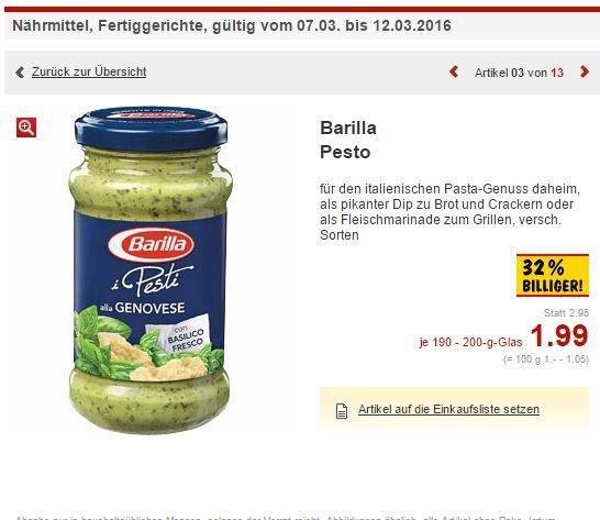 [LOKAL Kaufland Dresden-Naußlitz ] Barilla Pesto Rosso / Genovese 1,99€
