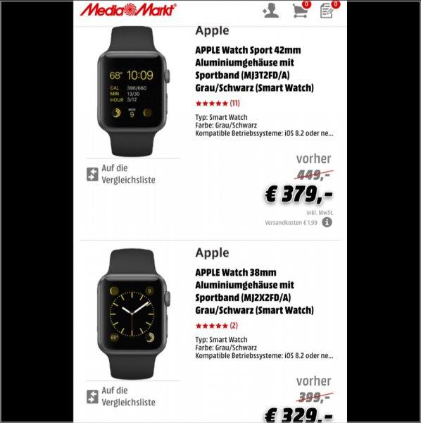 Apple Watch 32mm für 329€ und 42mm für 379€