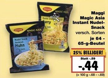 [Kaufland/Bundesweit]  Maggi Magic Asia Instant Nudel-Snack 0,44€ Mit Coupon 5 Packungen nur für 0,20€ [14.03-19.03]