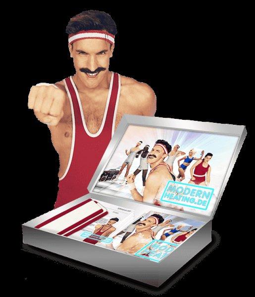 Gratis 80er Stirnband, Klebe-Schnurrbart, Poster + Sticker (Erdgasheizung)