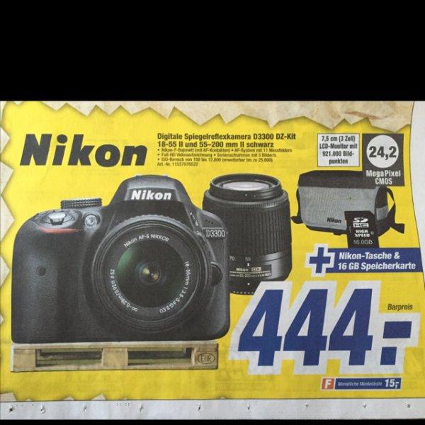 Nikon D3300 inkl 18-55 55-200 Tasche und 16GB Karte