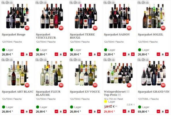 Weinpaket mit 24 Flaschen für €36,98 inkl. Versand @ lebensmittel.de