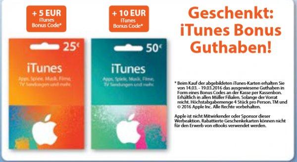 [Müller] iTunes Guthaben Karten 25€ + 5€ = 25€, 50€ + 10€ = 50€ 16,6 % Rabatt, gültig von 14.03. - 19.03.