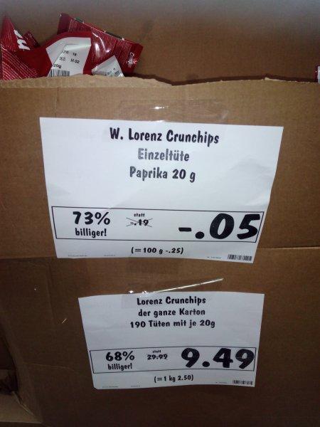 Lokal Dessau-Roßlau Lorenz Crunchips 20g für 5 Cent