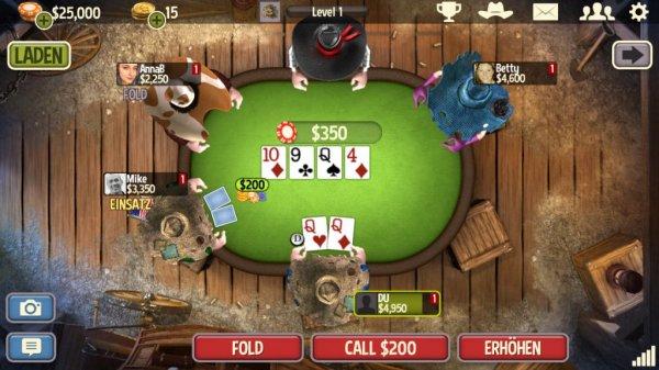 Nochmal Gratis Spielguthaben im Wert von 4€ für Governor of Poker 3 (iOS + Android)