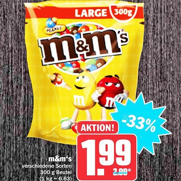 M&M's in der GROßEN 300g Tüte statt 2,99€ nur 1,99€ bei [HIT]