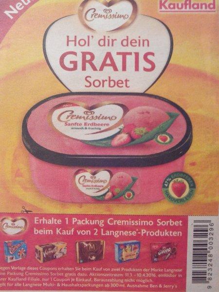 1 Packung Cremissimo Sorbet GRATIS Kaufland Bundesweit???
