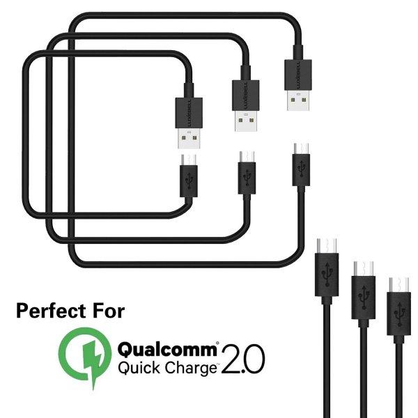 AMAZON = 3er Pack Luxebell Micro USB 2.0 Kabel (3er Pack: 120cm 90cm 60cm) für 3,99 €