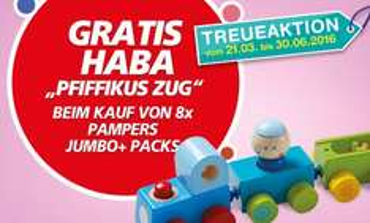 [real] 8xPampers JumboPack bis 30.06.2016 kaufen, Gratis Spielzeug Zug bekommen