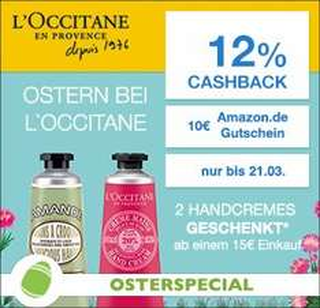 [Qipu] L'Occitane Osterspecial: 12% Cashback + 10€ Amazon Gutschein (ab 30€ MBW) + 2x gratis Handcremes (ab 15€ MBW)
