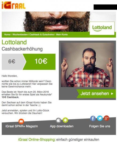 ( Lottoland ) 10.- Cashback für Neukunden bei Lottoland über iGral bei minimalen Mindesteinsatz (1.25.-)
