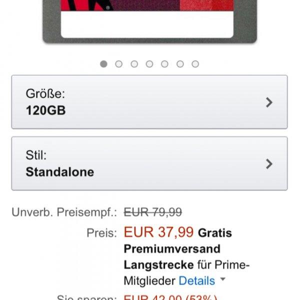 AMAZON Kingston SV300S37A/120G SSDNow V300 interne SSD-Festplatte 120GB Idealo 45,-