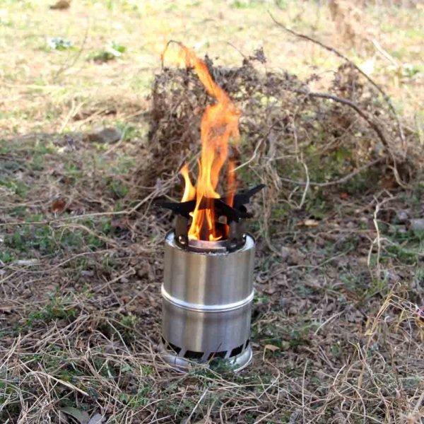 Edelstahl Holzofen/Holzvergaser  Spiritus Ofen für Picknick BBQ Camping