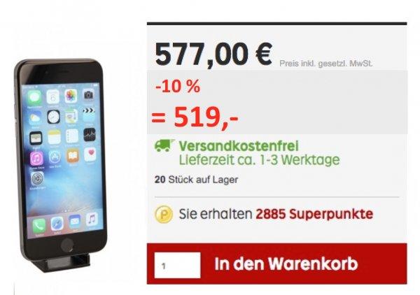 Apple iPhone 6s 16 GB  -wie neu- für 519 € zuzüglich 28,95 € Rakuten-Guthaben = 490,- €
