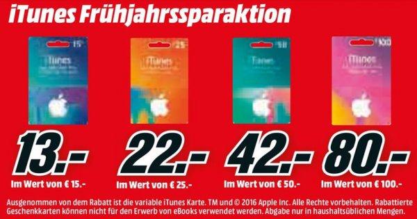 (Media Markt) bis zu 20% Rabatt auf iTunes Geschenkkarten (gültig vom 17.03. - 22.03.16)