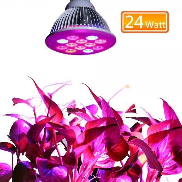 @Amazon: lederTEK, Beleuchtung für Pflanzen 12 LED 24W E27 [Energieklasse A++] für 17,99€
