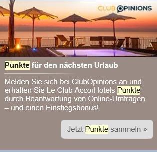 300 Le Club Accor Punkte gratis für erste Umfrage ausfüllen bei Club Opinions