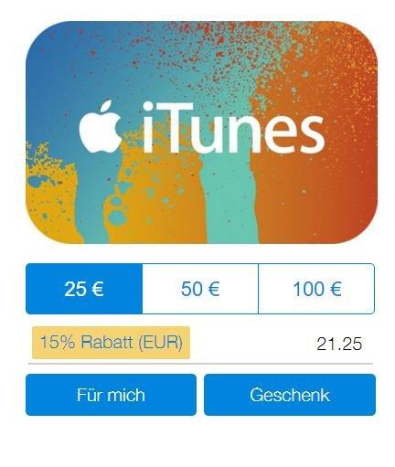 15 % Rabatt auf iTunes-Guthaben mit PayPal