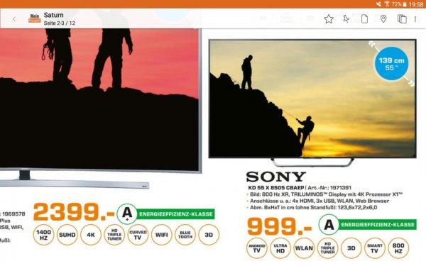 (Lokal) Saturn Erlangen Sony KD-55X8505 CBAEP 999€