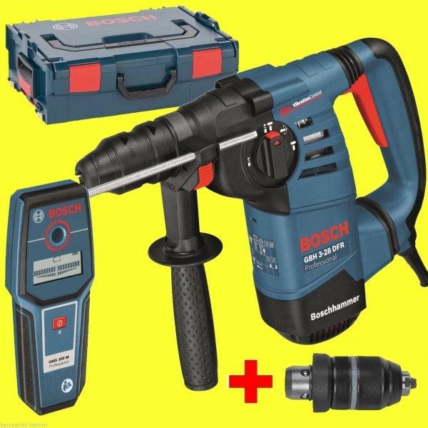 Bosch Bohrhammer GBH 3-28 DFR + GMS 100 M Ortungsgerät + L-Box + Schnellspannbohrfutter