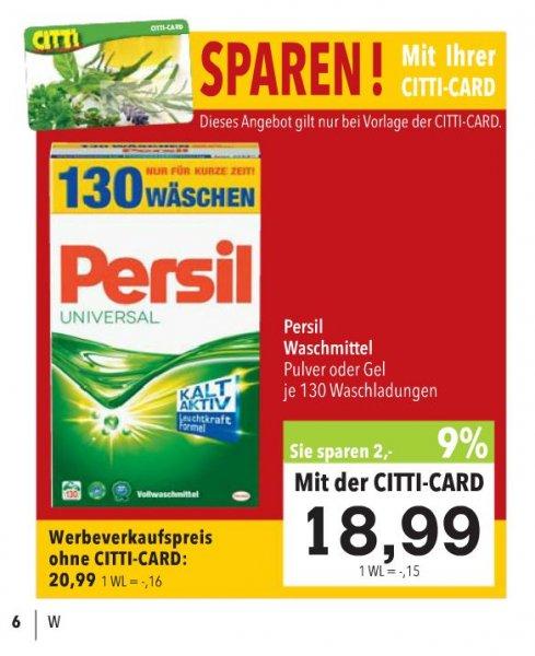 [Citty Markt / Norddeutschland] PERSIL Waschmittel Pulver oder Gel für €18,99 [mit Citti-Card]