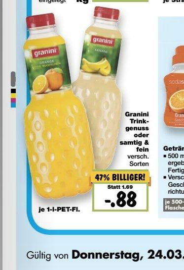 Granini Trinkgenuss für nur 88 Cent bei Kaufland Superweekend ab 24 März