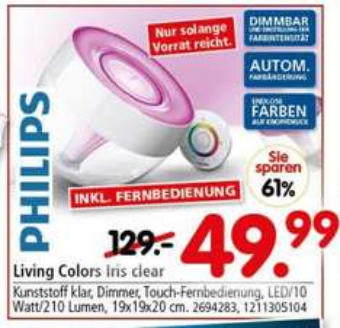 [WEITERSTADT] Segmüller: Philips Living Colors Iris für 49,99€