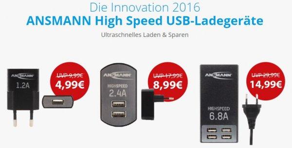 [Amazon.de/Mobil-Energy] Ansmann USB-Ladegeräte ab 4,99€