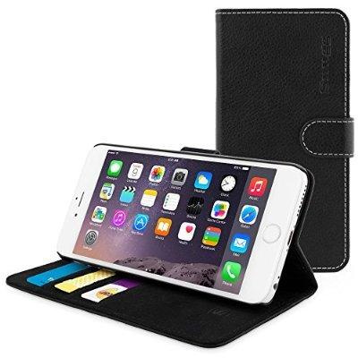KOSTENLOSE iPhone 6 Plus Hülle (Schwarz),  – Flip Case mit lebenslanger Garantie + Kartenfächern & Standfunktion(Prime)