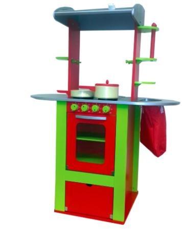 Wieder da: HAPE Spielküche - Oxybul Küche, rot/grün aus Holz (inkl. Zubehör und Kreidetafel) für 36,79€ statt ca. 65€ bei [babymarkt]