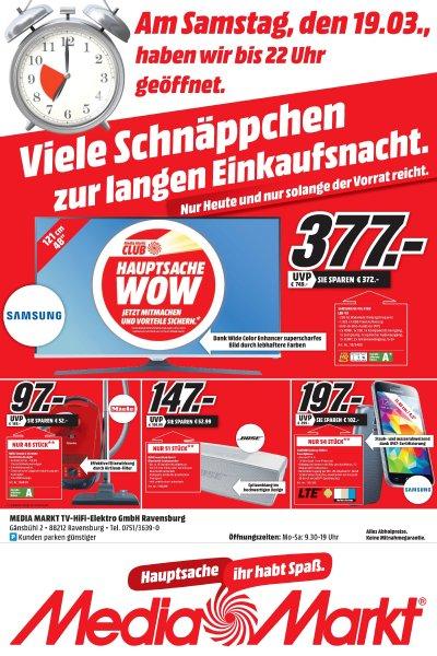 Media Markt Ravensburg – Viele Schnäppchen zur langen Einkaufsnacht am 19.03.16 – u. a. Samsung UE 48 J 5150 für 377€