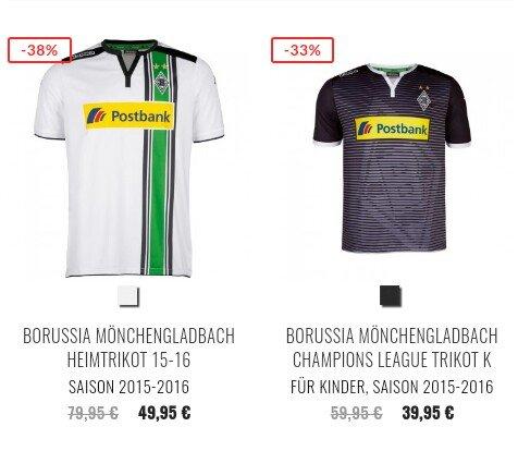 Im Kappa Shop sind das Heim- und Championsleaguetrikot von Borussia um 38%/33% reduziert, genau wie viele andere Artikel von Borussia Mönchengladbach.