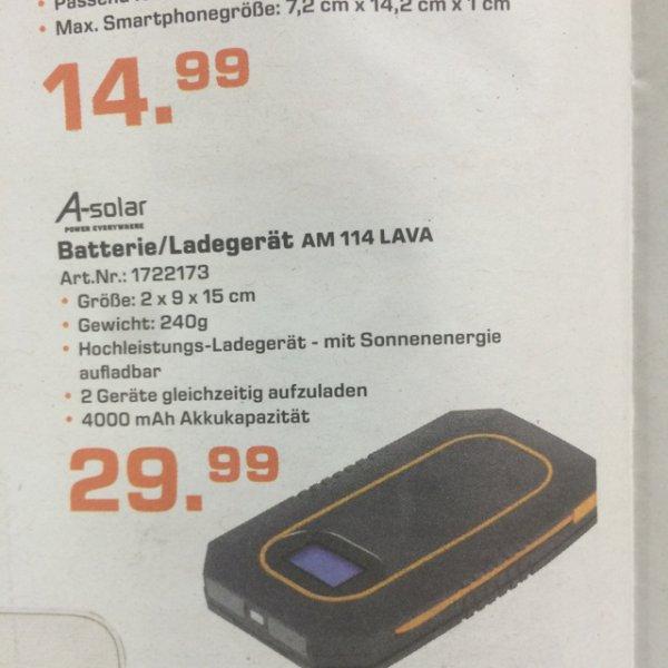 Batterie - / Ladegerät AM 114 Lava Solar Charger