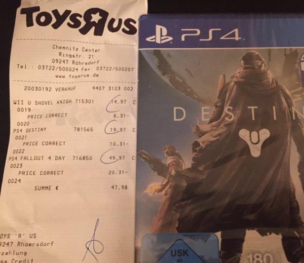 [Lokal Toysrus Chemnitz Center] Destiny PS4 für 9,66€
