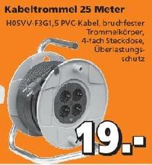 [Globus-Baumarkt] Kabeltrommel mit 4-fach Steckdose für 19,00 Euro.