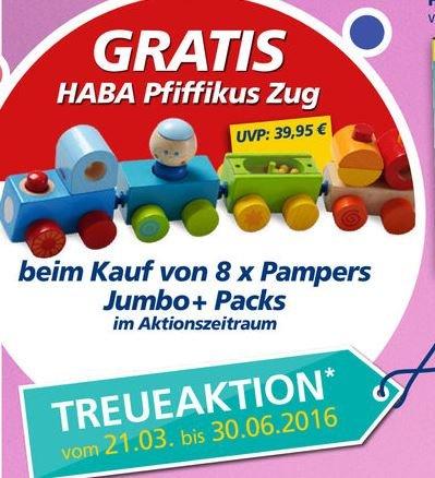 """[Real] Beim Kauf von 8 Pampers Jumbo Packs gratis HABA """"Pfiffikus Zug"""""""
