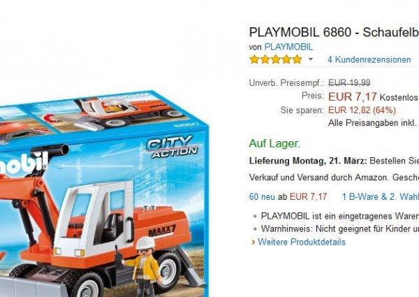 [Amazon Prime] PLAYMOBIL 6860 - Schaufelbagger mit Räumschild