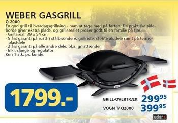 [lokal DK] Weber Gasgrill Q2000 für 242 EUR, idealo: ab 308,89 EUR