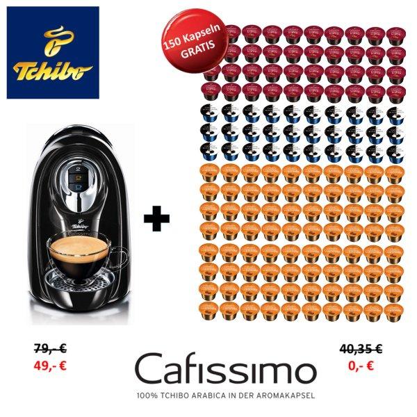 @eBay Tchibo Cafissimo Compact Kaffeekapselmaschine + 150 Kapseln, 49 Euro