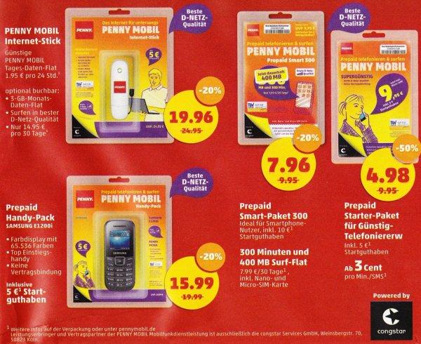 [Penny] 20% auf Penny Mobil - Stick o. Sim-Karte 50% o. Handy mit Simkarte (D1, Congstar)