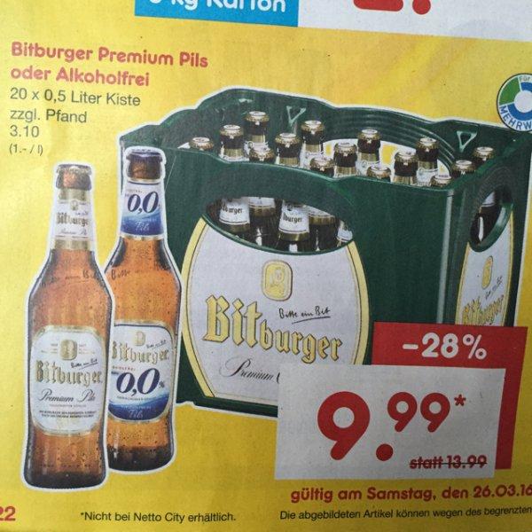 Bitburger Premium Pils Kasten bei Netto in Angebot